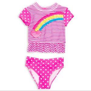 Flapdoodles 2-piece hot pink rainbow swimsuit 12M